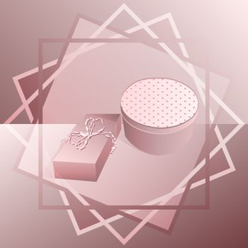 Two presents for women's day, mother's day or valentine's day in abstract geometric frame in monochrome pink tones