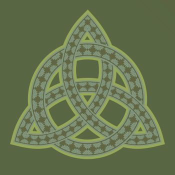 Floral ornamented celtic pagan symbol triquetra on olive green background