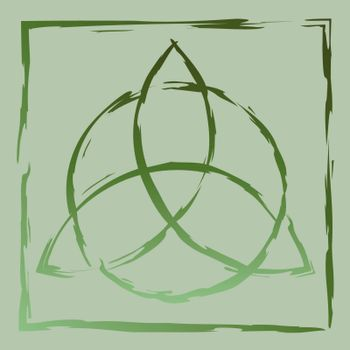 Drawn contour green celtic pagan symbol triquetra in square frame
