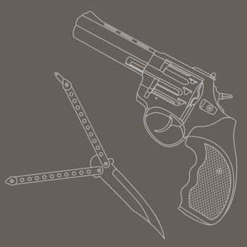 Contour illustration with revolver and butterfly knife on grey background