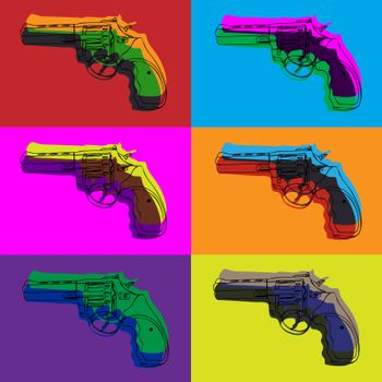 Bright colorful psychedelic seamless pattern with six contour revolvers in pop style