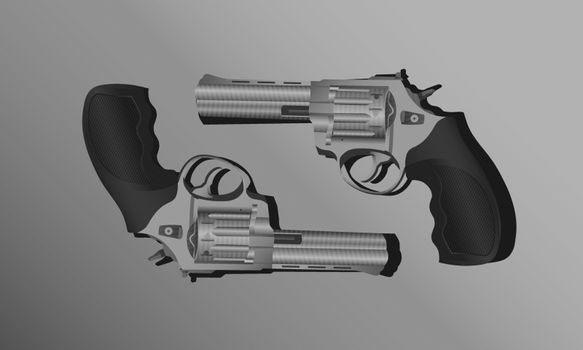 Illustration of two symmetric realistic steel revolvers with black handle on grey background