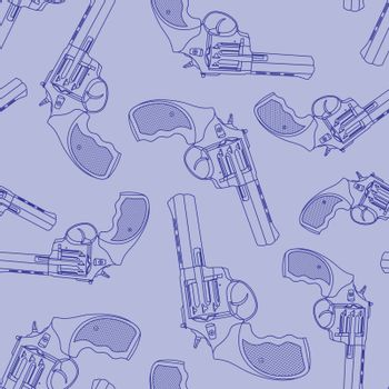 Seamless pattern with drawn monochrome blue contour revolvers in random order