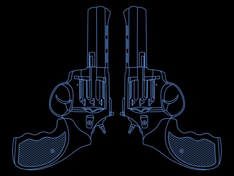 Contour illustration with two symmetric blue revolvers on black background