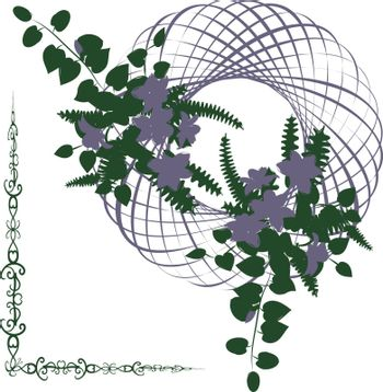 Beautiful delicate wreath or ikebana with green leaves and lilac flowers in entwined circle