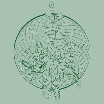 Sketch of contour green delicate ikebana with leaves and flowers in entwined circle