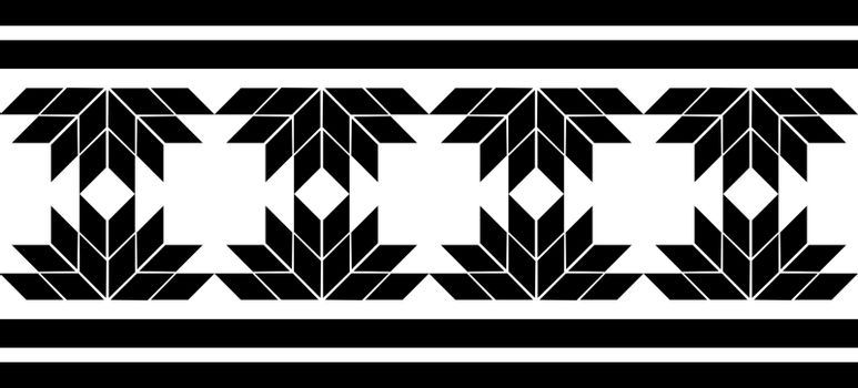 Simple tribal black geometric ornament with lines, squares and flowers
