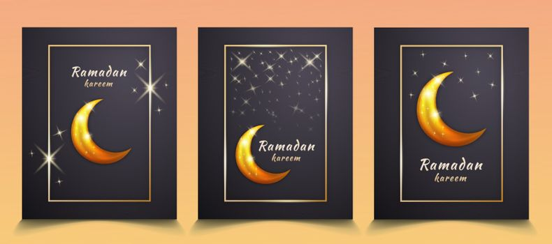 3 Sets Vector Background Frame of Ramadan Mubarak with the Moon and Shining Stars to Celebrate and Welcome the Month of Ramadan