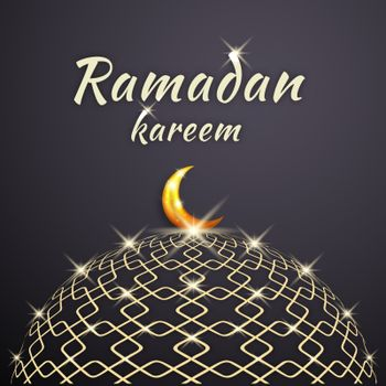 Ramadan Kareem Dome of the Beautiful and Shining Mosque with a Glowing Moon on it.