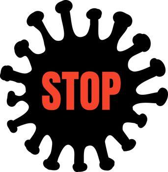 Abstract virus strain model coronavirus 2019-nCoV COVID-19 MERS-Cov Novel coronavirus with red STOP