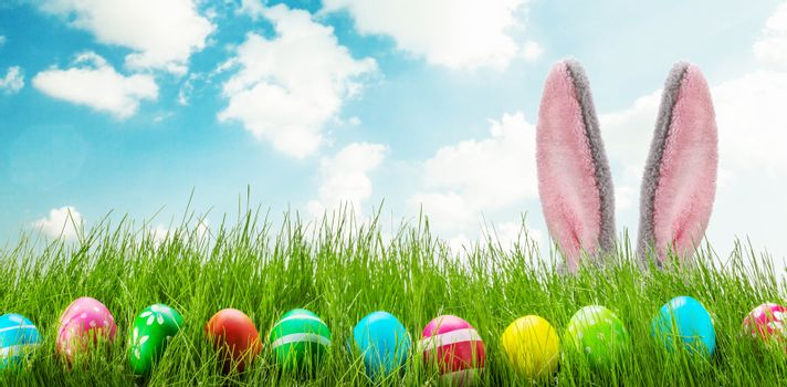 Easter bunny and Easter eggs on green grass meadow