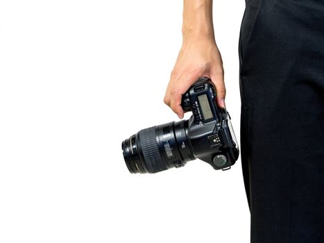 The photographer holds the camera by hand in the hip position.