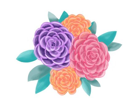 Decorative floral illustration. Botanic romantic composition. Beautiful Blooming Roses Flowers for wedding or greeting card.