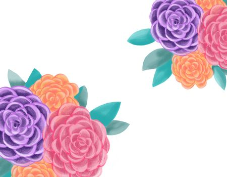 Decorative floral illustration. Botanic romantic composition. c for wedding or greeting card. Beautiful Blooming Roses Flowers