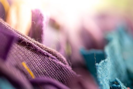 Close up view on textile and fabrics textures. Fabric textures i