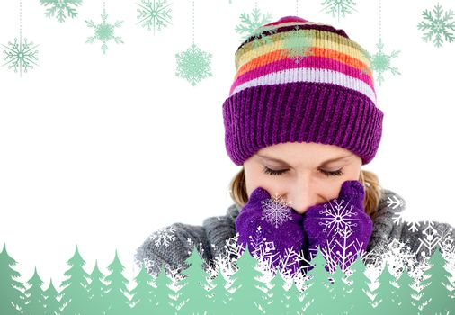 Composite image of freeze woman with gloves and a hat