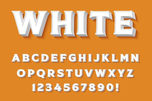Modern 3D white Alphabet Letters, Numbers and Symbols. Clean Typography . Vector