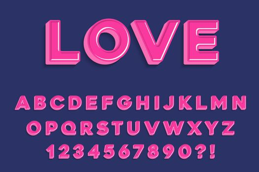 Modern 3D madness pink  Alphabet Letters, Numbers and Symbols. Sweet Typography . Vector