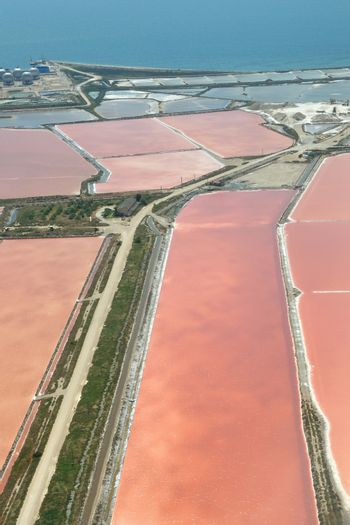 aerial view of salt marsh and field in France
