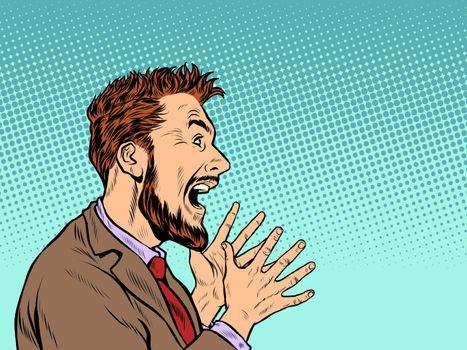 Emotional man screaming. Pop art retro vector illustration vintage kitsch 50s 60s style