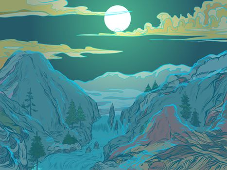 winter mountain night. ski resort or nature Park. Pop art retro vector illustration vintage kitsch 50s 60s style