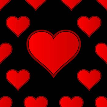 A red love heart repeating seamless background with extra large heart at the ctr of the display