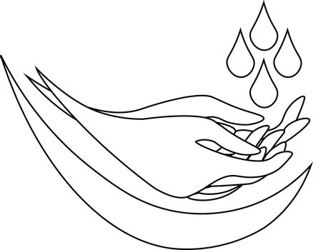 Simple monochrome line art of washing hands under water drops