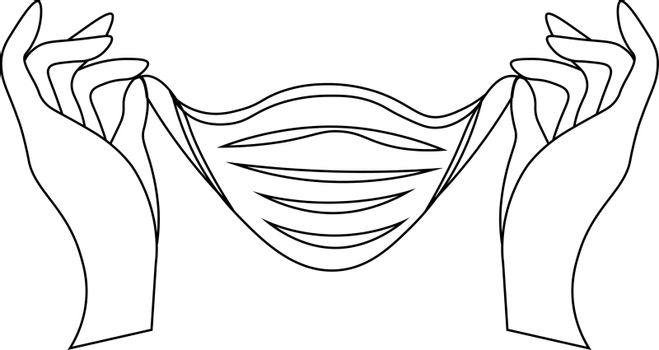 Line art with two hands putting on a medical mask
