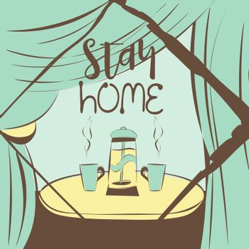 Cute and cozy illustration with teapot and two cups on the table, text 'stay home' in blue and brown colors