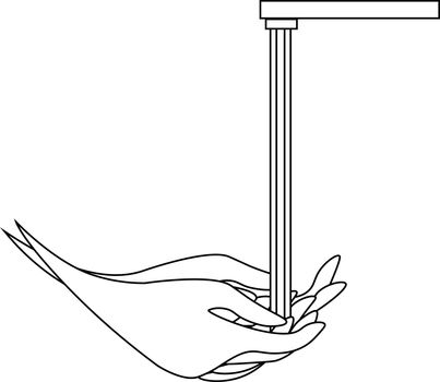 Simple monochrome line art of washing hands under water tap
