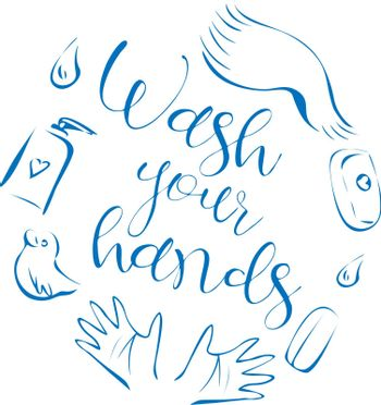 Cute cartoon illustration with text 'wash your hands', contour hands and bath products: soap, towel, rubber duck and water drop