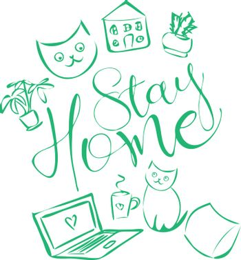 Cute and cozy illustration with text 'stay home', cats, home plants, house, pillow, notebook and cup of tea