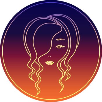 Bright colorful icon with minimal face of woman with wavy hair