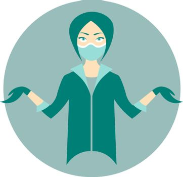 Colorful cartoon young female doctor in medical mask and rubber gloves shrugging shoulders