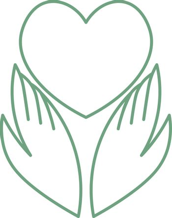 Simple green minimal outline icon with two hands and heart