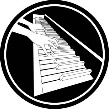 Beautiful black and white icon with two contour hands playing on piano keyboard