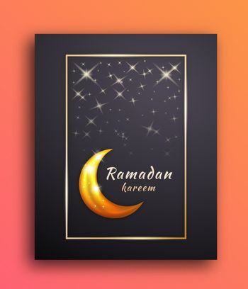 Background Frame of Ramadan Mubarak with the Moon and Shining Stars to Celebrate and Welcome the Month of Ramadan.