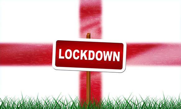 England lockdown preventing coronavirus spread or outbreak. Covid 19 English precaution to lock down virus infection - 3d Illustration