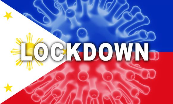 Philippines lockdown preventing coronavirus epidemic or outbreak. Covid 19 Pilipinas precaution to lock down disease infection - 3d Illustration