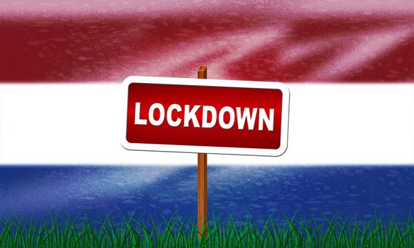 Netherlands lockdown preventing coronavirus epidemic or outbreak. Covid 19 Dutch precaution to lock down disease infection - 3d Illustration