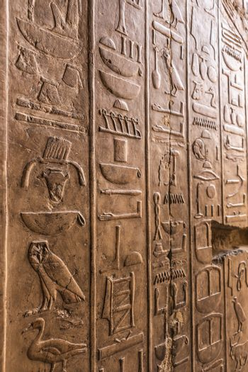 Detailed Egyptian hieroglyphs inside the Mortuary Temple of Hatshepsut