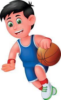 Funny Basketball Player Boy in Blue Uniform Doing Dribble Cartoon