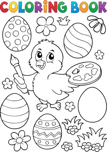 Coloring book Easter eggs and chicken 1 - eps10 vector illustration.