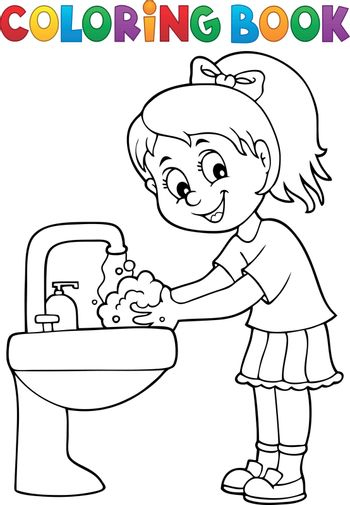 Coloring book girl washing hands theme 1 - eps10 vector illustration.
