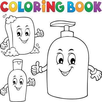 Coloring book soap and hygiene theme 1 - eps10 vector illustration.