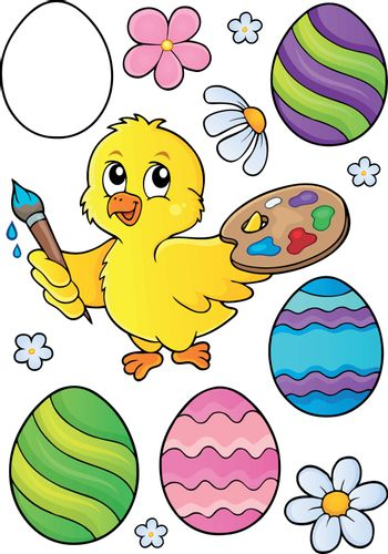 Easter eggs and chicken painter set 1 - eps10 vector illustration.