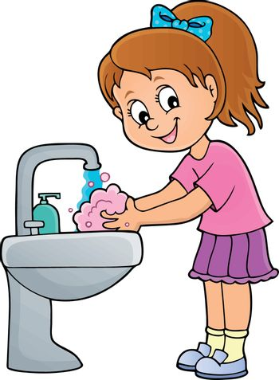 Girl washing hands theme 1 - eps10 vector illustration.