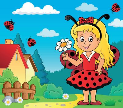 Ladybug girl theme image 2 - eps10 vector illustration.