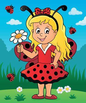 Ladybug girl theme image 3 - eps10 vector illustration.