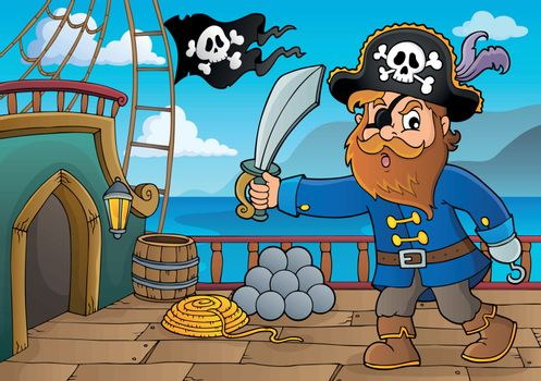 Pirate holding sabre theme 3 - eps10 vector illustration.